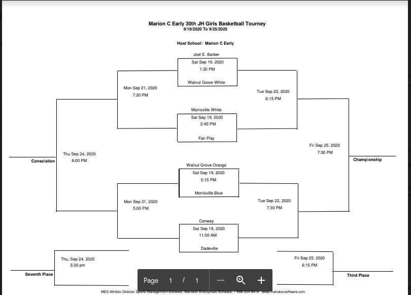 MCE JH Girls Tournament Bracket